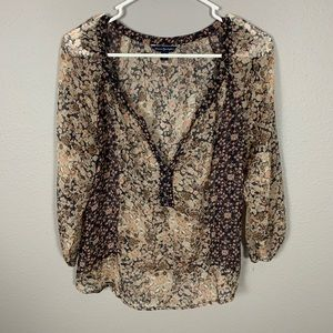 American Eagle Outfitters Pattern Sheer Top
